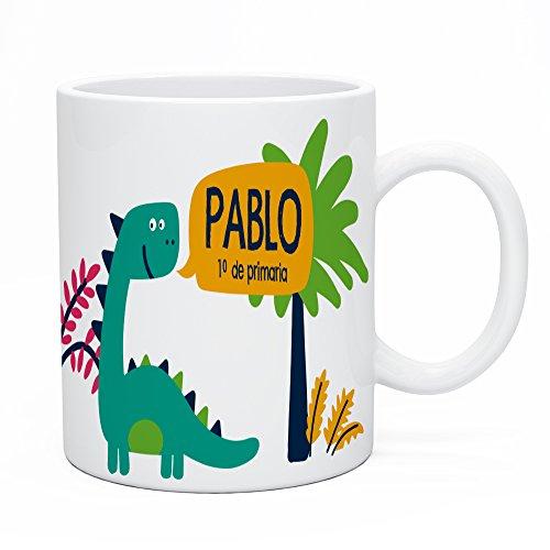 Regalo Original Taza de plástico Infantil Personalizada con Nombre y Dinosaurio para la Vuelta al Cole 33 Cl