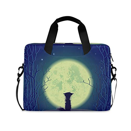 Cat Moon Night 15.6' 16' Laptop Case Sleeve Briefcase Computer Shoulder Bag W/Strap