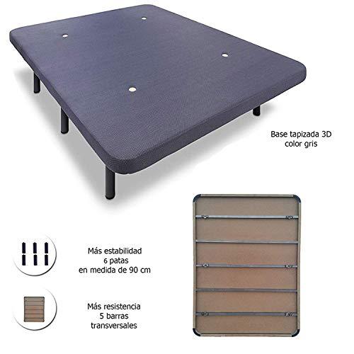 HOGAR24 Base Tapizada con 5 Barras Transversales y Tejido 3D Color Gris + 6 Patas de Metal 26cm, 135x190cm