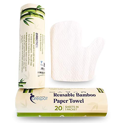 Carespot Bamboo Paper Towels 20 Sheets - Reusable & Washable Kitchen Cleaning Towel - 110 GSM - Eco Friendly One roll replaces 2 months of towels   Dishwasher and Machine Washable - 1 Roll