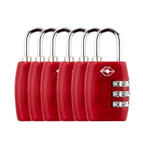 Kofferschloss TSA, Zahlenschloss Gepäckschlösser Reiseschlösser 3-stellige Zahlenkombination - Bestes TSA anerkanntes für Reisesicherheit,Rot * 6 Stück