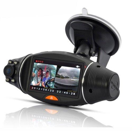 BW 2,7 Pulgadas de Pantalla rotativa de Doble cámara DVR del Coche con el maderero del GPS y del GPS Sensor de visión Nocturna SC310