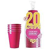Confezione da 20 Bicchieri Originali Rosa Ufficiali  53cl Coppe Americane Rosa  Beer Pong  qualità Premium  Bicchieri di plastica riutilizzabili  Lavaggio a Mano e in Lavatrice  OriginalCup®