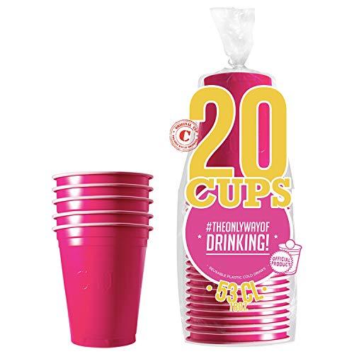 Pack de x20 Original Pink Cups Officiels | Gobelets Américains 53cl Roses | Beer Pong | Qualité Premium | Gobelets en Plastique Réutilisables | Lavables Main et Lave-Vaisselle | OriginalCup®