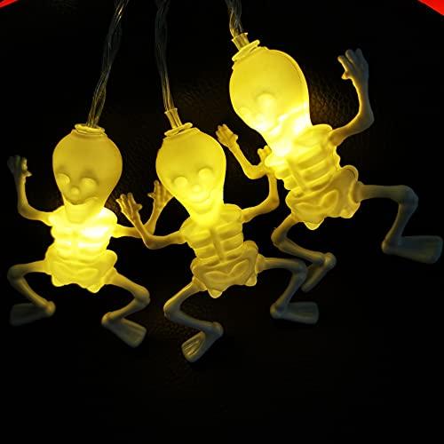 Halloween Skull Headlight String Ghost Skeleton Frame Outdoor Terrorist Bar Led Battery Light 3m