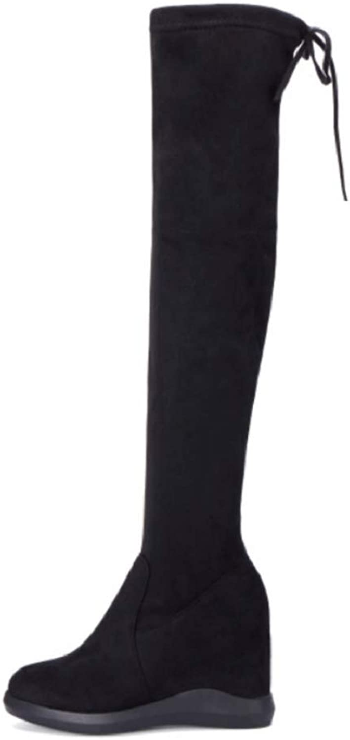 Ladies Women Sexy Thigh High Biker Boots  22018 Autumn and Winter Wedges Elastic with High Boots Hidden High Heel 6 cm Slim Suede Over Knee Boots