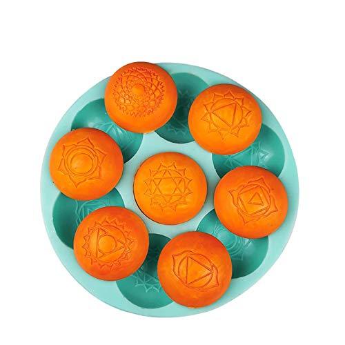 Groust Molde de silicona medio redondo 7 cavidades cilindro redondo molde de silicona para galletas de chocolate, dulces, pudín, herramientas para hornear, molde de galletas y dulces