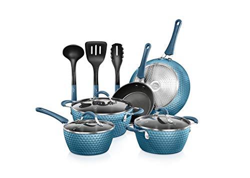 NutriChef Excilon - Juego de ollas y cacerolas antiadherentes para cocina con cacerola, sartenes, ollas, tapas, utensilio libre de PTFE/PFOA/PFOS, 11 unidades, azul real