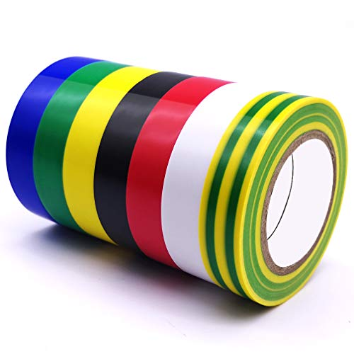 Electrical Tape 7 Pack 7 Color, Maveek PVC Strong Adhesive Insulation Tapes, Heat Resistant, Flame Retardant, Waterproof, 0.6inch x 49ft(15mm x 15m)