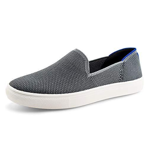 JABASIC Women Knit Slip On Sneakers Comfortable Walking Loafers (9.5,Grey)