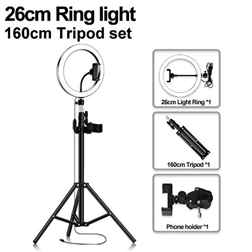 Aro de Luz para Movil con Tripode Grande, 3 Colores Regulables Control Remoto Bluetooth para Youtube, Selfie, Maquillaje63in