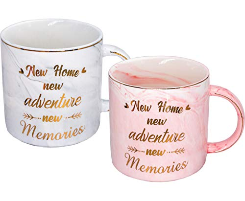 Mugpie Housewarming Gifts For New Home Owner - New House Gift Couples Coffee Mug Presents for Women Men Friends Mom Dad Daughter Son Coworkers -Sweet Wedding Christmas Gifts for New Home New Adventure