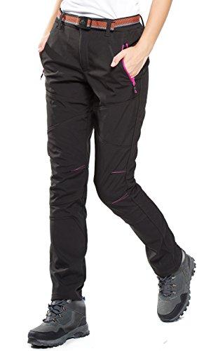 HAINES Pantalones de Montaña Mujer Invierno Pantalon Trekking Impermeables Pantalones para Senderismo Pantalón Softshell, Estilo 4: Negro, Gr. EU-S/Asia-L