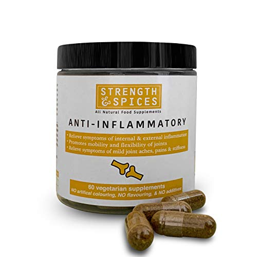 Powerful Anti-inflammatory 100% Natural Supplement for Joint, Muscles - 28 Ingredients - 60 UK Made 1000mg Vegan Capsules - Mobility and Flexibility Support