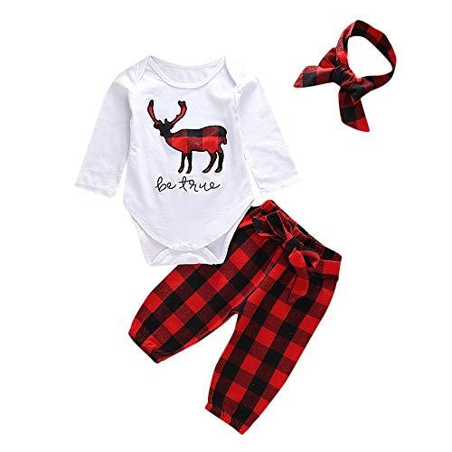 Transer 3PCS Toddler Baby Christmas Deer Deer Barboteuse + Pantalon à Motif à Carreaux + Bandeaux (6-12 Mois, Blanc)