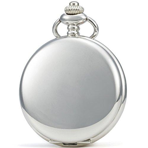 SEWOR, orologio da taschino meccanico a carica manuale, in stile classico, con copertura liscia (Argento)