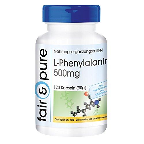 L-Phenylalanin 500mg - essentielle Aminosäure - ohne Magnesiumstearat - vegan - 120 Kapseln