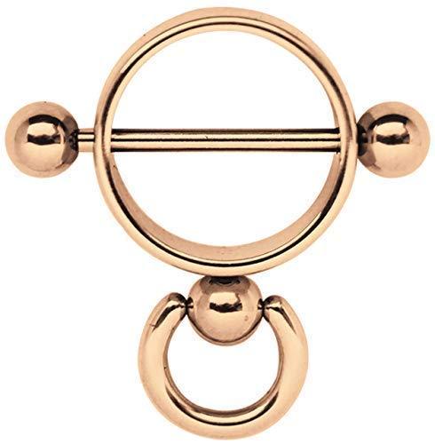 Brustpiercing Schmuck Stahl Ring der O, Rosegold beschichtet, in 1,6 x 14 mm