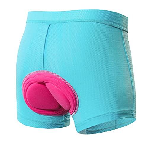 Ypnrd Fahrradhose Damen Schnelltrockende Gepolstert Mit Sitzpolster Radlerhose Sommer Hohe Taille Unterhosen,Blau,M