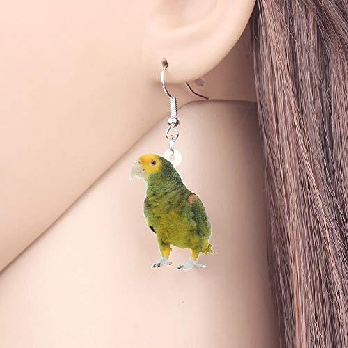 EHXWL Acryl Grün Naked-Eyed Cockatoo Papagei Ohrringe Tropfen Baumeln Neue Vogel Schmuck Für Frauen Mädchen Freunde Party Charms Geschenk