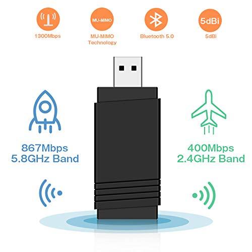 QianWei WiFi Adapter 1300Mbps(5.8G/867Mbps+2.4G/433Mps) Bluetooth5.0 MU-MIMO 5dBi USB3.0 Wireless Adapter für Windows, Mac OS X, PC/Desktop/Laptop