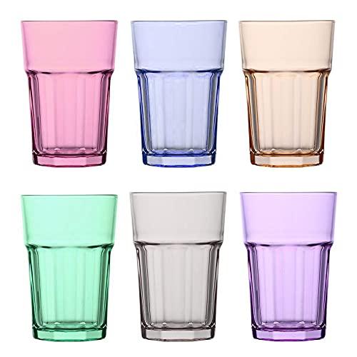Unishop Set de 6 Vasos de Colores Pastel, Vasos de Cristal Multicolor Altos, 365 ml de Capacidad
