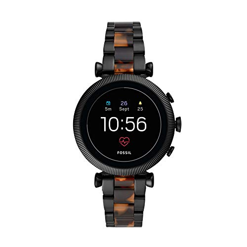 Fossil Women's Gen 4 Sloan HR Stainless Steel Touchscreen Women's Smartwatch with Heart Rate, GPS, NFC, and Smartphone Notifications (Two-Tone Black and Tortoise Stainless Steel)