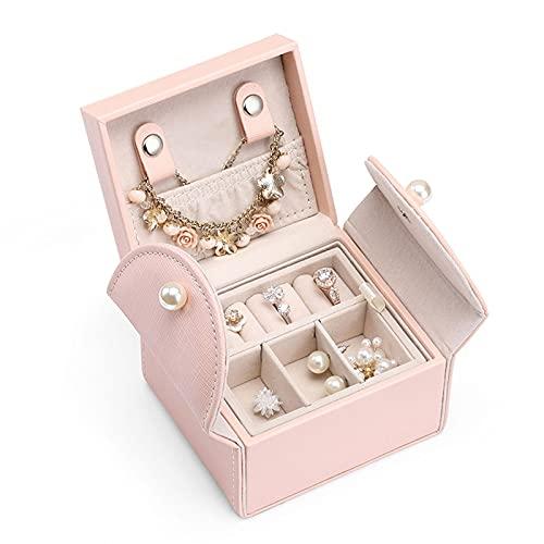 liushop Joyero Jewelry Box, Mini Soft PU Cuero Travel Caja De Almacenamiento 2 Capas para Pulseras, Pendientes Anillos Collares Broches Regalos para Mother Girls Mujeres (Rosa) Cajas para Joyas