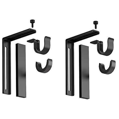 IKEA Betydlig Vorhangstangen-Halterung für Wand oder Decke, Stahl, schwarz, verstellbar, 2 Stück