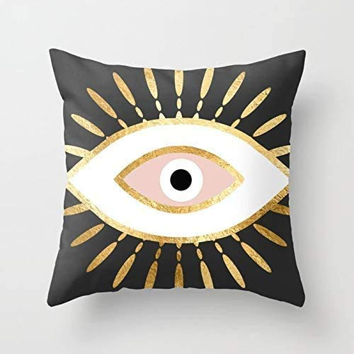 FJTP Gold Foil Evil Eye in Blush Flax Cotton Hidden Zipper Throw Pillow Covers 20x20 in (Two Sides)