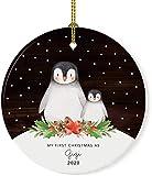 New Baby Redondo Cerámica Porcelana Adorno de árbol de Navidad Recuerdo Regalo coleccionable, Mi primera Navidad como Gigi 2020, Madera rústica de pingüino de acuarela, 1 paquete, Caja de regalo con cinta, 7.2 * 7.2cm
