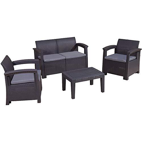 newpo | Gartenmöbel Sitzgruppe | Inklusive Tisch Couch Sessel | Sitzgarnitur Terrasse Außenbereich
