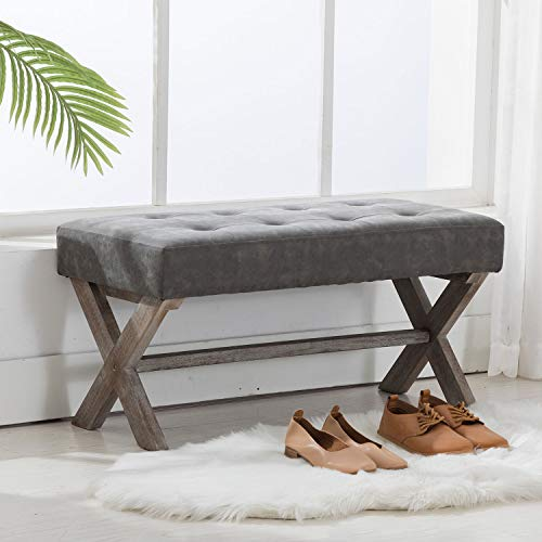 Leather Upholstered Entryway Bench for Living Room