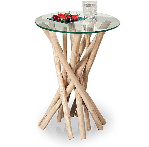 levandeo Beistelltisch Treibholz 50x35x35cm Sicherheitsglas Unikat Couchtisch Natur Massivholz in Handarbeit