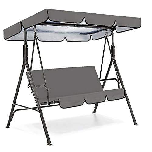 Waterproof Patio Swing Cover Set Rectangle Garden Swing Canopy Dustproof Chair Cushion Cover Rainproof Outdoor Swing Seat Replacement Tools Sunscreen Swing Bench Pads Protective Covering (A, Gray) -  Homebaby