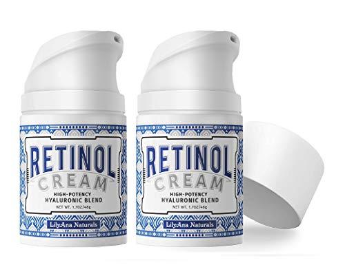 LilyAna Naturals Retinol Cream for Face - Retinol Cream, Anti Aging Cream, Retinol Moisturizer for Face, Wrinkle Cream for Face, Retinol Complex - 1.7oz - 2 Pack