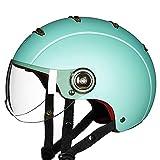 Casco de la motocicleta Vintage casco de la motocicleta Medio casco de la cara del coche eléctrico Hombres Mujeres Cuatro Estaciones casco de la moto Vespa moto XXYHYQHJD (Color : Verde-M)