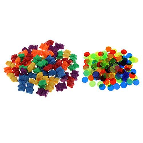 Harilla 360x Plastic Bear & Chips Contando 6 Colores Educación Divertida Actividad Juego de Juguetes