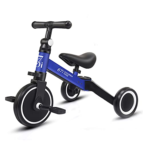 67i Tricycles for 2 Year Olds Toddler Tricycle 3 in 1 Tricycles Kids Trikes for Toddler Bike 3 Wheel Convert 2 Wheel with Removable Pedal and Adjustable Seat for 1-3 Years (Blue)
