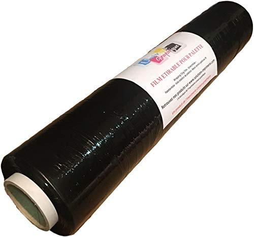 Film étirable pour palette NOIR 450 mm x 270 mètres pour palette - film préétiré emballage manuel noir opaque anti uv lot de 1 rouleau