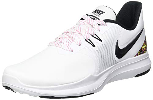 Nike In- Season TR 8 PRNT, Gymnastics Shoe Donna, White/Black-Laser Fuchsia, 42 EU