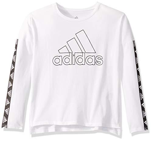 adidas Girls' Big Long Sleeve Cropped Tee T-Shirt, White, M
