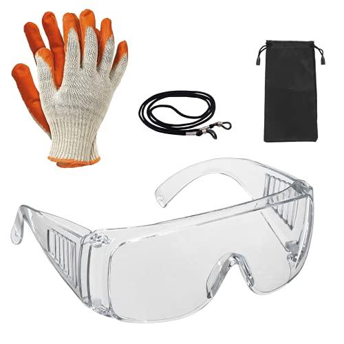 Gafas de seguridad y trabajo, para la protección de tus ojos en el ámbito sanitario, industrial y agrícola | Gafas de seguridad anti vaho icluye guantes,funda y correa de sujección.