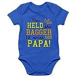 Sprüche Baby - Mein Held fährt Bagger - 1/3 Monate - Royalblau - Body mit Bagger Spruch - BZ10 - Baby Body Kurzarm für Jungen und Mädchen