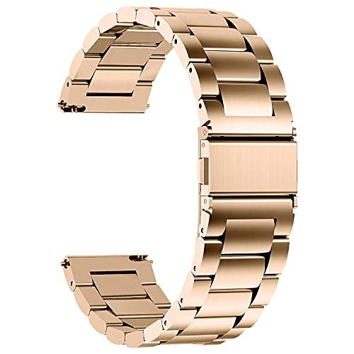 Fullmosa 4 Colores para Correa Metálica de Reloj de Liberación Rápida, Pulsera Reloj de Acero Inoxidable, Oro Rosa 18mm