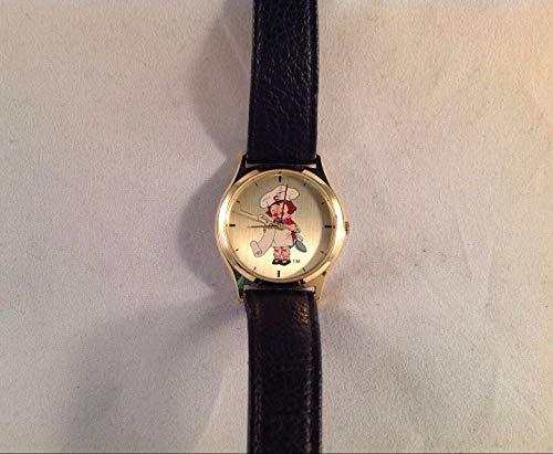 ROA Campbell Girl Chef tono dorado correa de cuero negro reloj de pulsera 8-1/2 pulgadas de largo