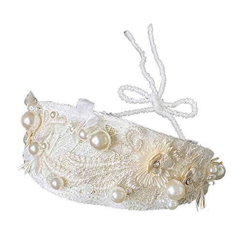 MYhose Aro de Pelo Vintage Bordado Floral Encaje Boda Diadema Perla Rebordear Joyas Diadema Beige Blanco