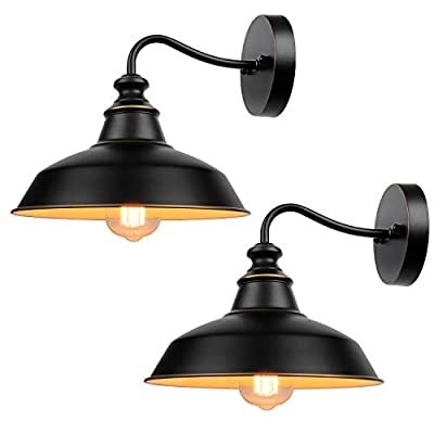 Gooseneck Wall Sconces Lighting, Vintage Industrial Indoor and Outdoor Light Fixture, Wall Light Wall Lamp for Farmhouse, Bedroom, Bathroom Vanity, Living Room, Kitchen, Porch (2-Pack)