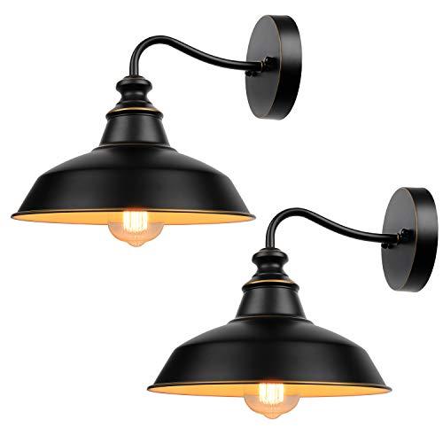 Gooseneck Wall Sconces Lighting, Vintage Industrial Indoor and Outdoor Light Fixture, Wall Mount Lamp Fixtures for Farmhouse, Bedroom, Bathroom Vanity, Living Room, Kitchen, Porch ( 2-Pack )