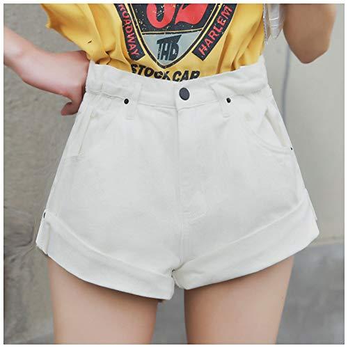 DAIDAICDK Denim Shorts Dames Korte Jeans Brede Been Elastische Taille Vintage Hoge Taille Shorts Vrouwen Zomer